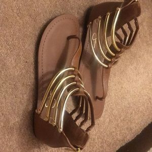 Brown and Gold Jessica Simpson sandals